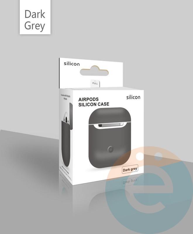 2d7a95afdf75 Чехол силиконовый для наушников Apple AirPods ультра-тонкий тёмно-серый -  фото 23599