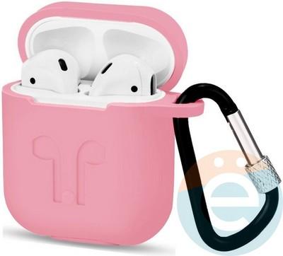 Чехол силиконовый для наушников Apple AirPods с карабином розовый - фото 18120
