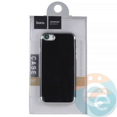 Накладка силиконовая Hoco на iPhone 7/8 чёрная с серебристой окантовкой - фото 19048