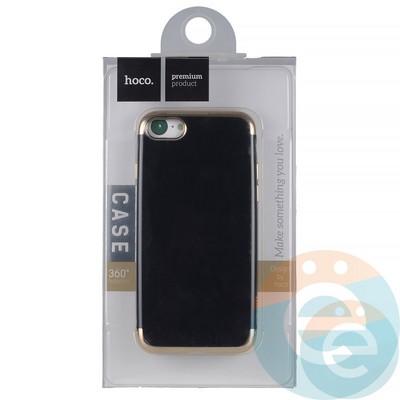 Накладка силиконовая Hoco на iPhone 7/8 чёрная с золотистой окантовкой - фото 19049