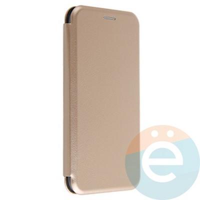 Чехол книжка боковой с силиконовой окантовкой для iPhone Xs Max золотистый - фото 20260