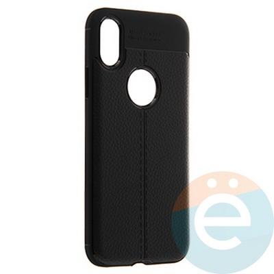 Накладка силиконовая 360 с кожаными вставками на Iphone Xs Max чёрная - фото 22242