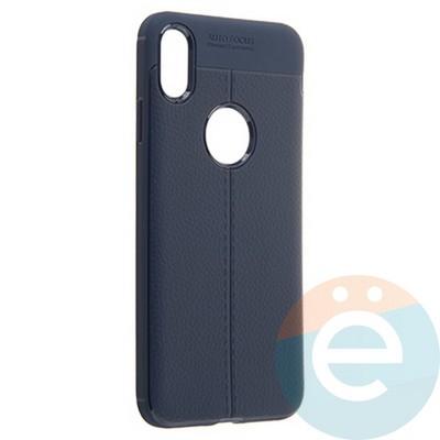 Накладка силиконовая 360 с кожаными вставками на Iphone Xs Max синяя - фото 22251