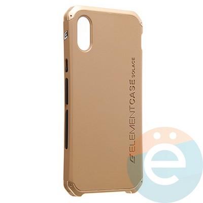Накладка противоударная Element Case на Apple iPhone X золотистая - фото 23125