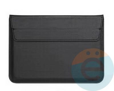 Конверт для ноутбука (13 Дюймов) кожаный на магните чёрный - фото 23570