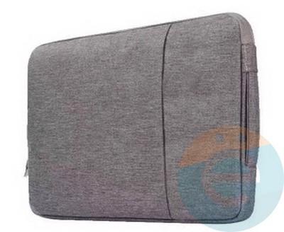 Конверт для ноутбука (13 Дюймов) тканевый на молнии серый - фото 23586