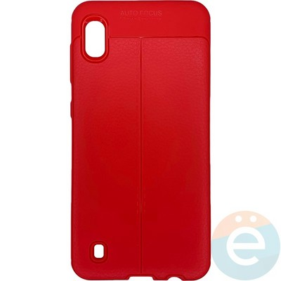 Накладка силиконовая 360 с кожаными вставками на Samsung Galaxy A10 красная - фото 28045