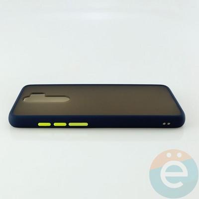 Накладка пластиковая матовая с силиконовой окантовкой для Xiaomi Redmi Note 8 Pro синяя - фото 30522