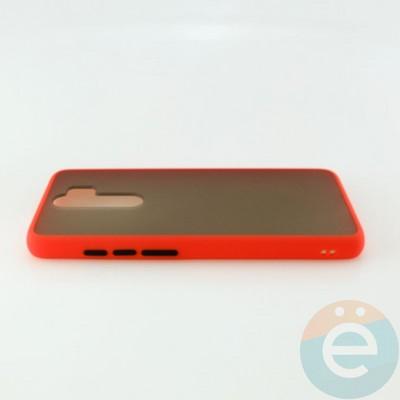 Накладка пластиковая матовая с силиконовой окантовкой для Xiaomi Redmi Note 8 Pro красная - фото 30523