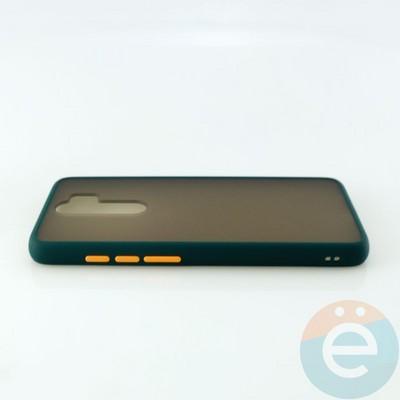 Накладка пластиковая матовая с силиконовой окантовкой для Xiaomi Redmi Note 8 Pro зелёная - фото 30524