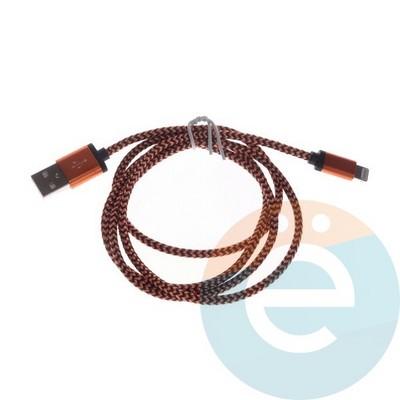 USB кабель на Lightning плетёный в техпаке оранжевый - фото 6337