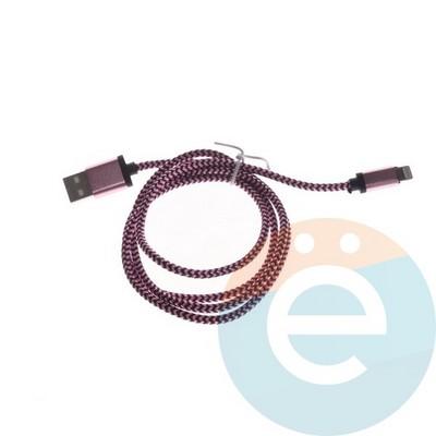 USB кабель на Lightning плетёный в техпаке розовый - фото 6338