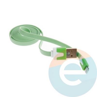 USB кабель Noodle Flat на Lightning плоский зелёный - фото 6371