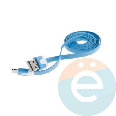USB кабель Noodle Flat на Lightning плоский голубой - фото 6374