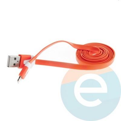 USB кабель Noodle Flat на Lightning плоский оранжевый - фото 6380