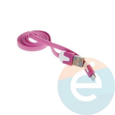 USB кабель Noodle Flat на Lightning плоский пурпурный - фото 6383