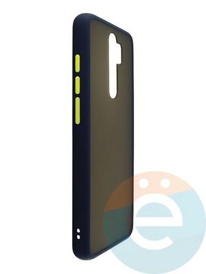 Накладка пластиковая матовая с силиконовой окантовкой для Xiaomi Redmi Note 8 Pro синяя - фото 35104