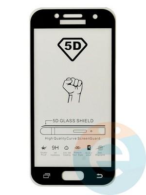 Защитное стекло 5D с полной проклейкой на Samsung Galaxy A3 2017 черное - фото 35470