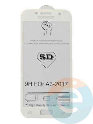 Защитное стекло 5D с полной проклейкой на Samsung Galaxy A3 2017 белое - фото 35471