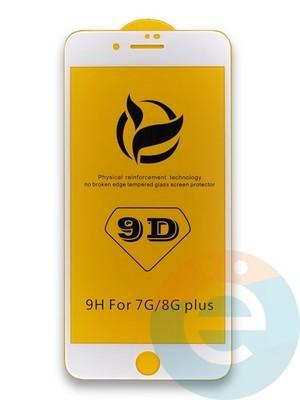 Защитное стекло 9D с полной проклейкой на Apple iPhone 7 Plus/8 Plus белое - фото 35977