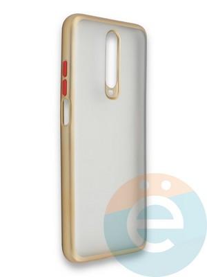 Накладка силиконовая матовая с перламутровой окантовкой для Xiaomi Redmi K30/K30 Pro золотистая - фото 36870