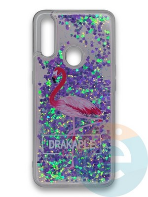 Накладка силиконовая переливашка на Oppo A31 Фламинго - фото 39779