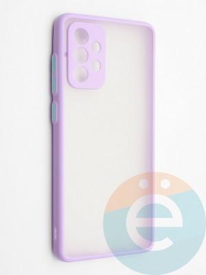 Накладка пластиковая с силиконовой окантовкой с защищенной камерой для Samsung Galaxy A72 сиреневая - фото 42309
