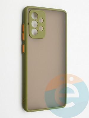 Накладка пластиковая с силиконовой окантовкой с защищенной камерой для Samsung Galaxy A72 хаки - фото 42310