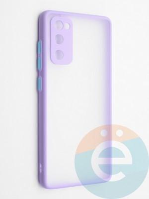 Накладка пластиковая с силиконовой окантовкой с защищенной камерой для Samsung Galaxy S20FE сиреневая - фото 42314