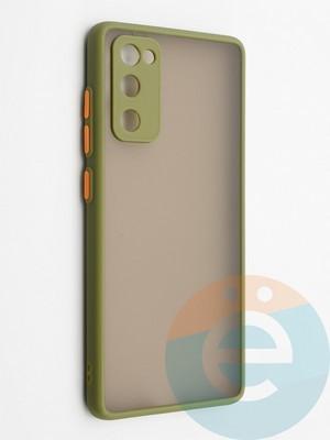 Накладка пластиковая с силиконовой окантовкой с защищенной камерой для Samsung Galaxy S20FE хаки - фото 42315