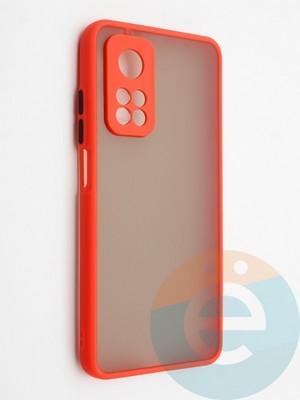 Накладка пластиковая с силиконовой окантовкой с защищенной камерой для Xiaomi Mi 10T красная - фото 42318