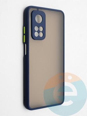 Накладка пластиковая с силиконовой окантовкой с защищенной камерой для Xiaomi Mi 10T синяя - фото 42319