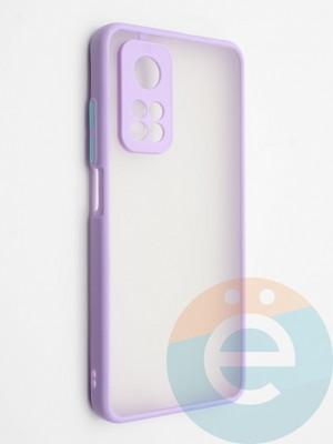 Накладка пластиковая с силиконовой окантовкой с защищенной камерой для Xiaomi Mi 10T сиреневая - фото 42320