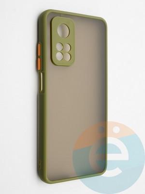 Накладка пластиковая с силиконовой окантовкой с защищенной камерой для Xiaomi Mi 10T хаки - фото 42321