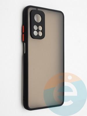 Накладка пластиковая с силиконовой окантовкой с защищенной камерой для Xiaomi Mi 10T черная - фото 42322