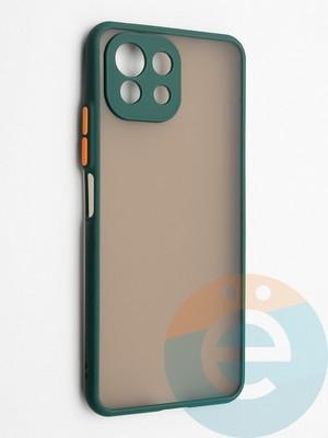Накладка пластиковая с силиконовой окантовкой с защищенной камерой для Xiaomi Mi 11 Lite зеленая - фото 42323