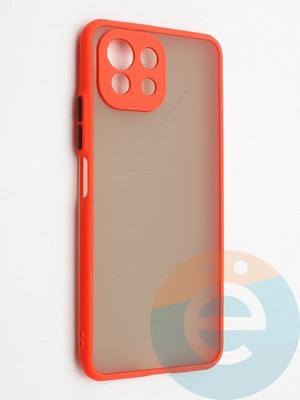 Накладка пластиковая с силиконовой окантовкой с защищенной камерой для Xiaomi Mi 11 Lite красная - фото 42324