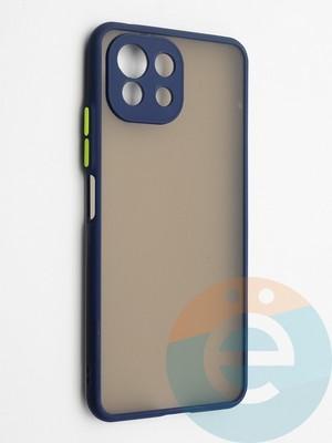 Накладка пластиковая с силиконовой окантовкой с защищенной камерой для Xiaomi Mi 11 Lite синяя - фото 42325