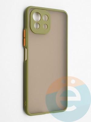 Накладка пластиковая с силиконовой окантовкой с защищенной камерой для Xiaomi Mi 11 Lite хаки - фото 42327