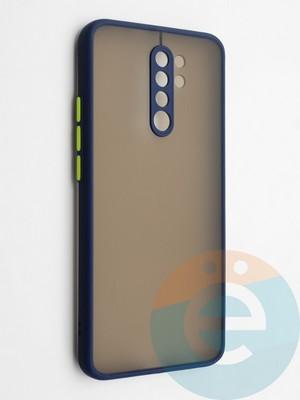 Накладка пластиковая с силиконовой окантовкой с защищенной камерой для Xiaomi Redmi 9 синяя - фото 42330