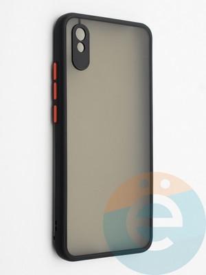 Накладка пластиковая с силиконовой окантовкой с защищенной камерой для Xiaomi Redmi 9A черная - фото 42331