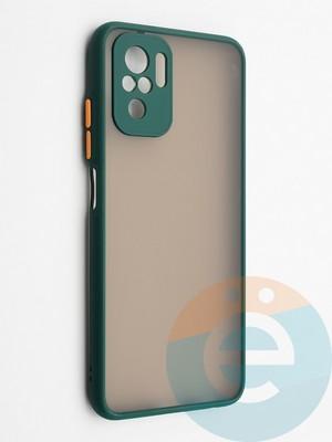 Накладка пластиковая с силиконовой окантовкой с защищенной камерой для Xiaomi Redmi Note 10 4G зеленая - фото 42332