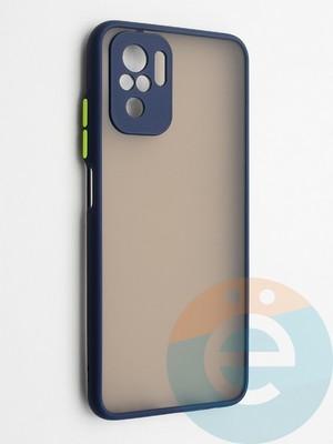 Накладка пластиковая с силиконовой окантовкой с защищенной камерой для Xiaomi Redmi Note 10 4G синяя - фото 42334