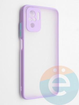 Накладка пластиковая с силиконовой окантовкой с защищенной камерой для Xiaomi Redmi Note 10 4G сиреневая - фото 42335