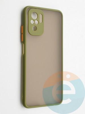 Накладка пластиковая с силиконовой окантовкой с защищенной камерой для Xiaomi Redmi Note 10 4G хаки - фото 42336