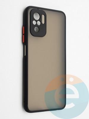 Накладка пластиковая с силиконовой окантовкой с защищенной камерой для Xiaomi Redmi Note 10 4G черная - фото 42337