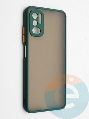 Накладка пластиковая с силиконовой окантовкой с защищенной камерой для Xiaomi Redmi Note 10 5G зеленая - фото 42338