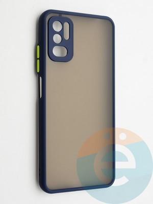 Накладка пластиковая с силиконовой окантовкой с защищенной камерой для Xiaomi Redmi Note 10 5G синяя - фото 42340