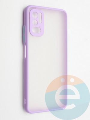 Накладка пластиковая с силиконовой окантовкой с защищенной камерой для Xiaomi Redmi Note 10 5G сиреневая - фото 42341