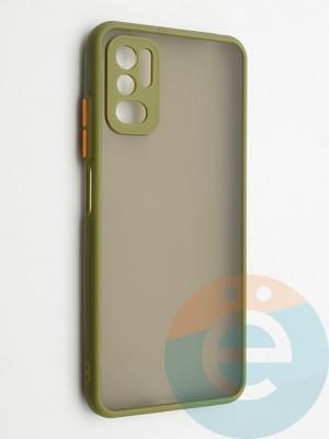 Накладка пластиковая с силиконовой окантовкой с защищенной камерой для Xiaomi Redmi Note 10 5G хаки - фото 42342